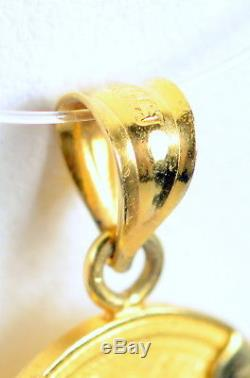 2000 $5 Australia 1/20 oz. 9999 Fine Gold Dragon Lunar Year Coin 14k Pendant