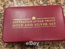 2000 AUSTRALIA LUNAR DRAGON 1 OZ GOLD PROOF & SILVER. Set WithCERT RARE