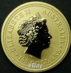 2000 Australia $100, 1 OZ. 9999 Gold, Year of the Dragon, Gem Uncirculated