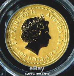 2000 Australia $100 Year Of The Dragon Gold Coin Pcgs Ms69 1 Oz. 9999 Gold