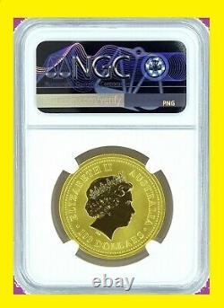 2000 Australia 1 oz Gold Chines Lunar DRAGON rare ms 70 NGC FLAG LABEL SERIES I