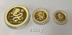 2000 Australia 3-Coin Gold Lunar Dragon Proof Set