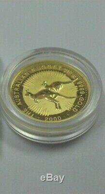 2000 Australia GOLD $15 Kangaroo Nugget (Millennium) 1/10 oz Perth BU. 9999 Fine
