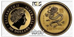 2000 Australian 2oz Lunar Year of the Dragon MS69 PCGS World Only-10