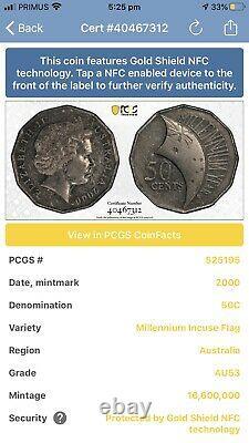 2000 Australian Millenium Incused 50 Cent Coin PCGS Graded AU53 Gold Shield NFC