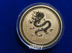 2000 Lunar Series Year of the Dragon Australian. 999 1 Ounce BU Gold Coin