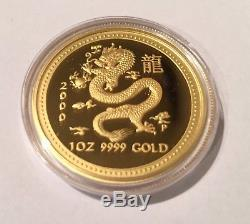 2000 Proof Australia Lunar Year Of The Dragon 1 Ounce Gold Coin Very Rare