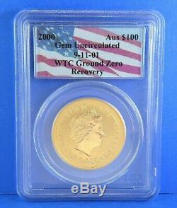 2000 WTC 911 Ground Zero $100 Australian Nugget Gold Coin Certified PCGS GEM UNC