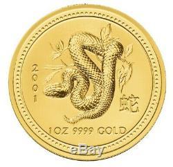 2001 $100 1oz Gold Australian Lunar Snake BU. 9999 Series 1