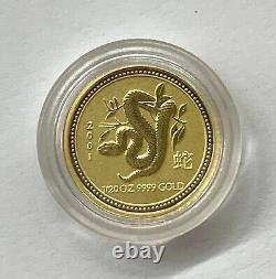 2001 1/20 oz. 9999 Gold Australia Lunar Series Snake $5
