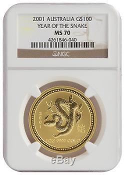 2001 1oz Gold Australian Lunar Snake Series 1 MS70 NGC (#040)