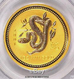 2001 Australia $100 Lunar Year Of The Snake Gold Coin Pcgs Ms69 1 Oz Gold