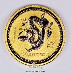 2001 Australia 25 Dollars Lunar Year of the Snake Gold Coin 1/4 OZ. 9999 Gold