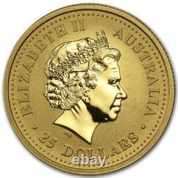 2001 Australian Year Of The Snake Gold Lunar 1/4 oz. 9999 GEM BU Series 1 Coin