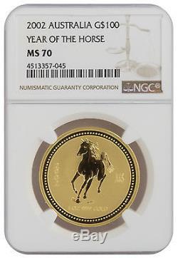 2002 1oz Gold Lunar Horse Series 1 MS70 NGC (#045)