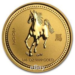 2002 $25 1/4 oz 9999 Gold Australia Lunar Horse Coin