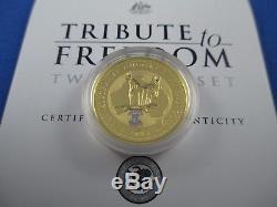 2002 AUSTRALIAN 1/2oz NUGGET GOLD AND 1oz KOOKABURRA SILVER COIN. SPECIAL PRIVY
