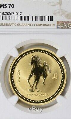 2002 Australia 1oz Gold Year of the Horse NGC MS-70 Rare Lunar Series 1 Perfect