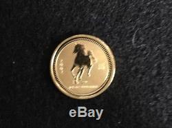 2002 Australia 25$ 1/4 Oz. 9999 Gold Lunar Series I Horse