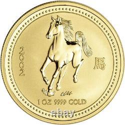 2002 Australia Gold Lunar Series I Year of the Horse 1 oz $100 BU