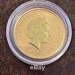 2002 Australian 1/10 Oz. 9999 Gold Coin Lunar Year Of The Horse, Uncirculated