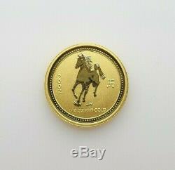 2002 Horse Australian Lunar Series Coin 1/10oz 15 Dollar Fine Gold Pre-owned
