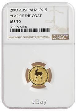 2003 1/10oz Gold Australian Lunar Goat Series 1 MS70 NGC (#008)