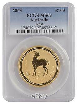 2003 1oz Gold Australian Lunar Goat Series 1 MS69 PCGS (#807)