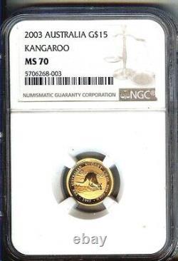 2003 Australia $15 Gold Kangaroo Nugget 1/10 Ounce Gem Bu Ngc Ms70 Pop 1
