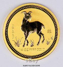 2003 Australia 25 Dollars Lunar Year of the Goat Gold Coin 1/4 OZ. 9999 Gold