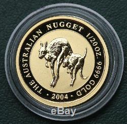 2004 Australia Roos $5 1/20 oz 999 Gold Coin Perth Mint Australian Nugget