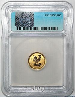2005 $15 Australia Lunar Series 1 Rooster 1/10 Oz Pure Gold ICG MS70