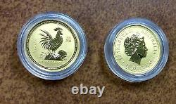 2005 AUSTRALIA $15 1/10oz GOLD Chinese LUNAR New year ROOSTER COIN in capsule