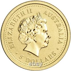 2005 Australia Gold Lunar Series I Year of the Rooster 1/20 oz $5 BU
