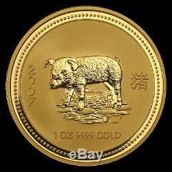 2007 Australia 1 oz Gold Lunar Pig BU (Series I) SKU #18474