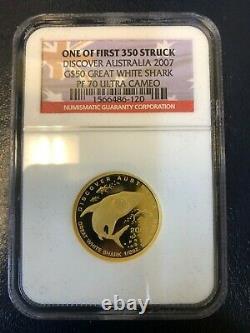 2007 Australia $50 1/2 oz. 9999 Gold Great White Shark NGC PF70 Ultra Cameo