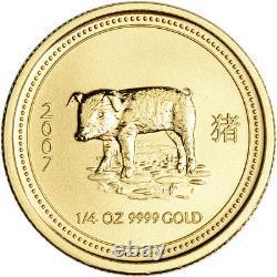 2007 Australia Gold Lunar Series I Year of the Pig 1/4 oz $25 BU