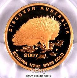 2007-p Discover Australia $50 Echidna Pcgs Pr70dcam 1/2 Oz Gold
