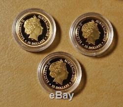 2008 2009 & 2010 Australian Kangaroo at Sunset $25 Gold Coins in OGP
