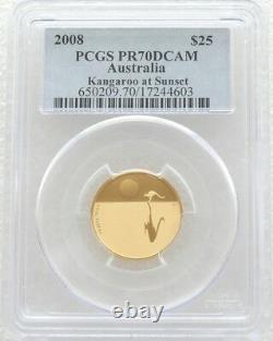 2008 Australia Kangaroo Sunset $25 Dollar Gold Proof Coin PCGS PR70 DCAM Pop 1