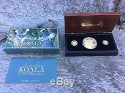 2008 Perth Mint Koala 3-Gold Coin Proof Set 2 oz, 1/10 oz, & 1/25 oz. (2)