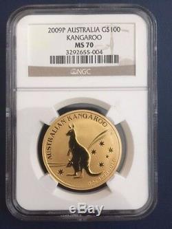 2009 AUSTRALIA 1.9 OZ GOLD KANGAROO 5 COINS PRESTIGE SET NGC MS70. Box+COA+Medal
