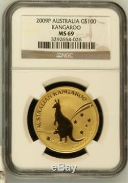 2009 Australia Gold 1 Oz. 9999 Fine $100 Kangaroo NGC Graded MS 69 Rare Coin