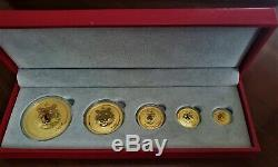 2010 Australia Gold Lunar Year of the Tiger 5 Coin Set Perth Mint-Series II