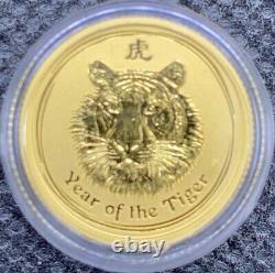 2010 Australian Year Of The TIGER Gold Lunar 1/10 oz. 9999 BU Coin Mint Capsule
