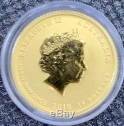 2010 Australian Year Of The TIGER Gold Lunar 1/10 oz. 9999 BU Coin Mint Capsule