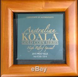 2010 Perth Nibt 1 oz, Gold Koala PCGS PR70DCM High Relief PERFECT