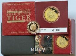 2010 The year of the Tiger PROOF 1/4 Oz Gold Australia 25$ Lunar 2 BOX COA