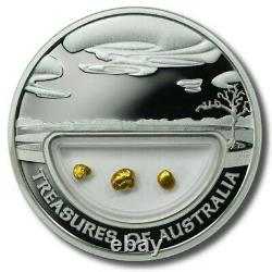 2010 Treasures of Australia Gold Nugget Coin / 1oz Silver Proof