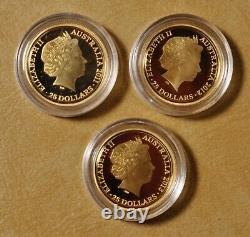 2011 2012 & 2013 Australian Kangaroo at Sunset $25 Gold Coins in OGP